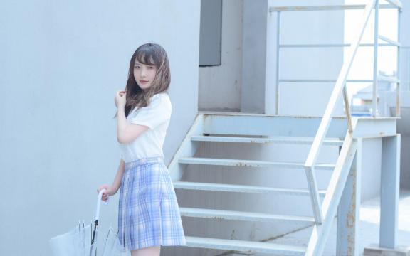 日系纯洁jk礼服少女天台甜蜜可爱写真插图7