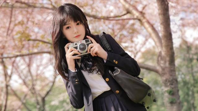 清纯校花美女甜美樱花写真插图6