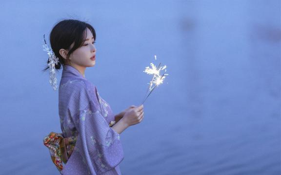 純情和服玉人唯美純潔魅力夜景戶外寫真插图