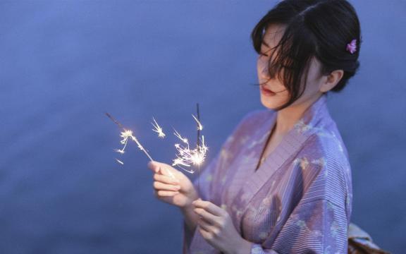 純情和服玉人唯美純潔魅力夜景戶外寫真插图2