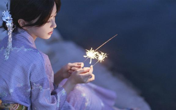 純情和服玉人唯美純潔魅力夜景戶外寫真插图3