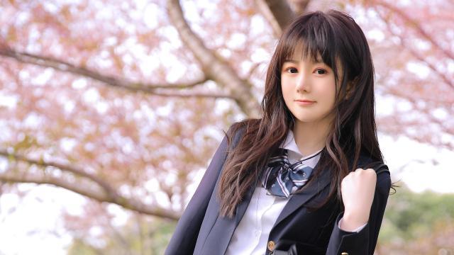 清纯校花美女甜美樱花写真插图5