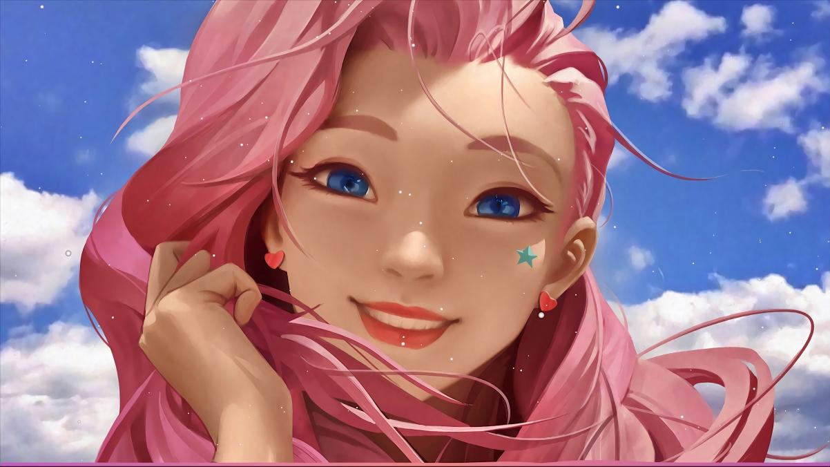 lol英雄联盟seraphine粉红色头发女孩4k壁纸3840×2160插图